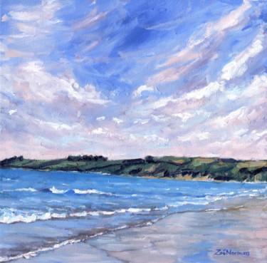 """Painting titled """"Carne Beach"""" by Zoe Norman, Original Art, Oil Mounted on Stretcher frame"""
