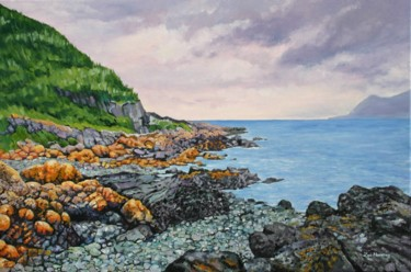 """Painting titled """"Porthdinllaen Cove"""" by Zoe Norman, Original Art, Oil Mounted on Stretcher frame"""
