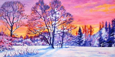 """Painting titled """"Evening Glow"""" by Zoe Norman, Original Art, Oil Mounted on Stretcher frame"""