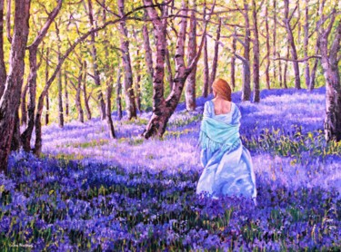 """Painting titled """"Through the Bluebel…"""" by Zoe Norman, Original Art, Oil Mounted on Stretcher frame"""