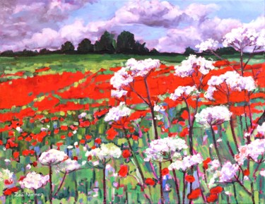 """Painting titled """"Poppy Field"""" by Zoe Norman, Original Art, Oil Mounted on Stretcher frame"""