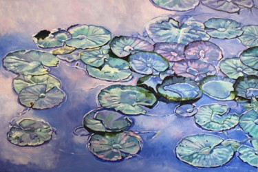 """Painting titled """"Water-Lilies"""" by Zoe Norman, Original Art, Oil Mounted on Stretcher frame"""