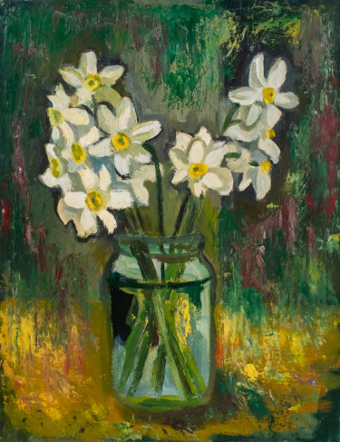 """Painting titled """"Daffodils"""" by Зоя Павкина, Original Art, Oil"""