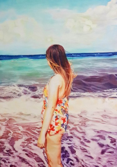 """Painting titled """"THE HOT WAVES"""" by Zeynep Hasırcı, Original Art, Other"""