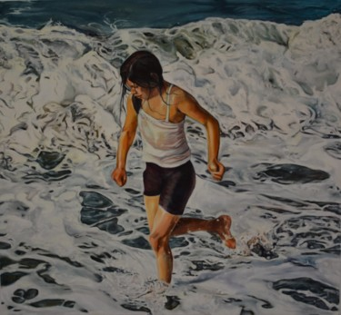 """Painting titled """"THE COLD WAVES"""" by Zeynep Hasırcı, Original Art, Other"""