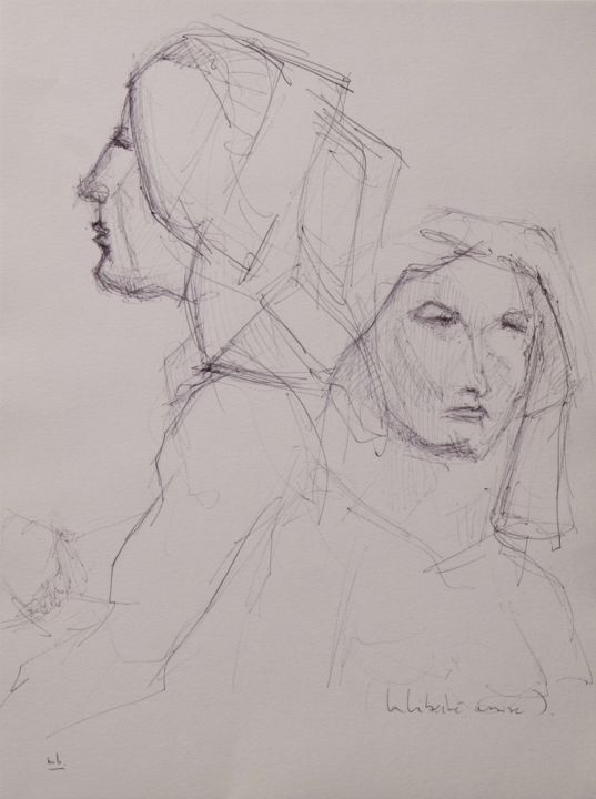 PORTRAITS 6 - Drawing,  11.7x8.3 in, ©2007 by Marc Barn -                                                                                                              Women, liberté assise