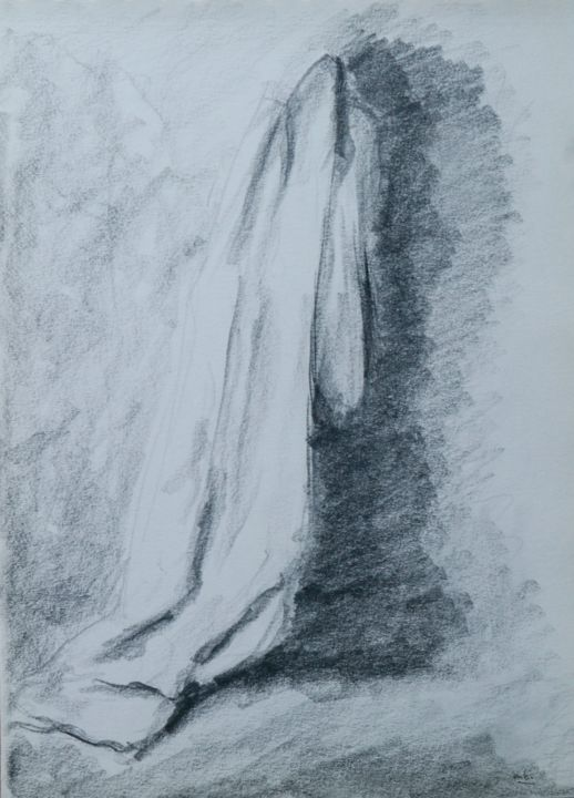 ANTHROPO 3 - Drawing,  12.2x8.3 in, ©2009 by Marc Barn -                                                                                                                                                                                                                      Classicism, classicism-933, drapé, manteau