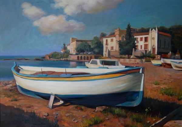 seascape with boats - Painting,  19.7x27.6 in, ©2010 by -446 -                                                                                                                                                                                                  oil on canvas, oil on panel, olio su tela, olio su tavola.artwork.gianni mileo