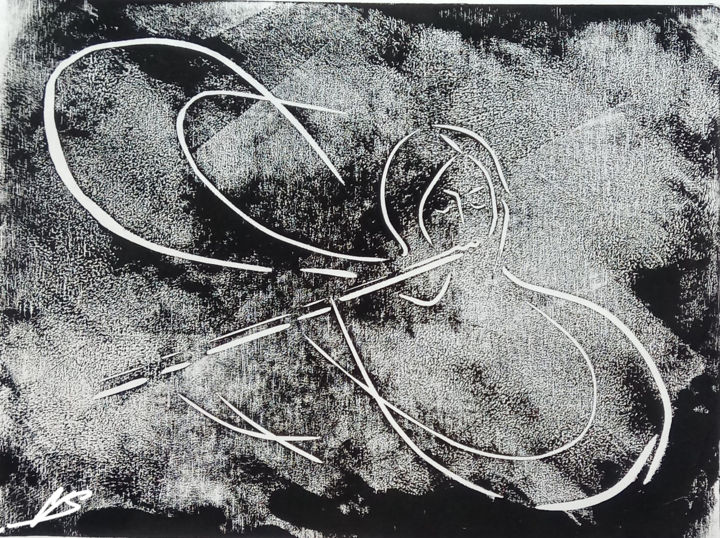 Melody of infinity - Printmaking,  8.3x11.7 in, ©2019 by Victor Shefer -                                                                                                                                                                                                                                                                                                                                                                                                                                                                                                                                                                                          Symbolism, symbolism-1020, Education, Fantasy, Outer Space, Science, Time, Linocut, symbolism, infinity, time, space