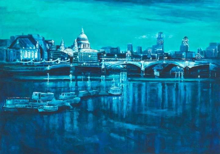 """Painting titled """"London Blues from s…"""" by Patricia Clements Art, Original Art, Acrylic Mounted on Stretcher frame"""