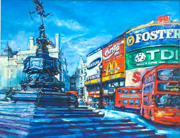 """Painting titled """"Eros and Piccadilly…"""" by Patricia Clements Art, Original Art, Oil Mounted on Stretcher frame"""