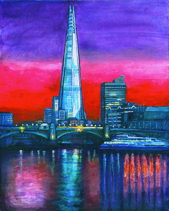 """Painting titled """"THE SHARD LONDON CI…"""" by Patricia Clements Art, Original Art, Acrylic"""