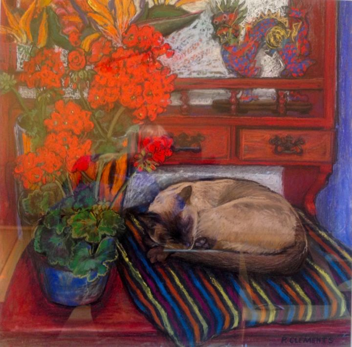 """Drawing titled """"Bb on the Dresser"""" by Patricia Clements Art, Original Art, Pastel Mounted on Cardboard"""