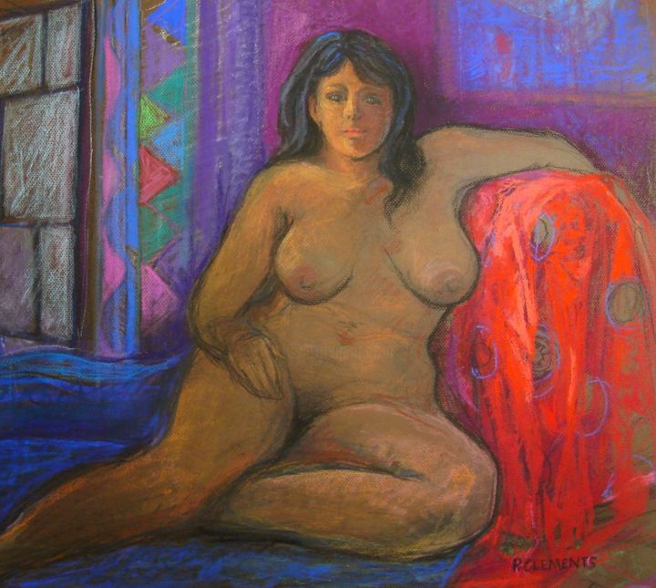 """Drawing titled """"Gauguin inspired"""" by Patricia Clements Art, Original Art, Pastel Mounted on Cardboard"""