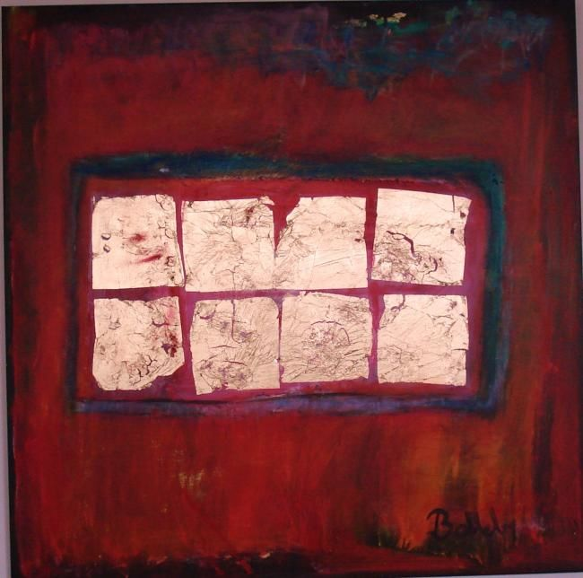 """Painting titled """"red and gold"""" by Ballebyart, Original Art, Oil"""