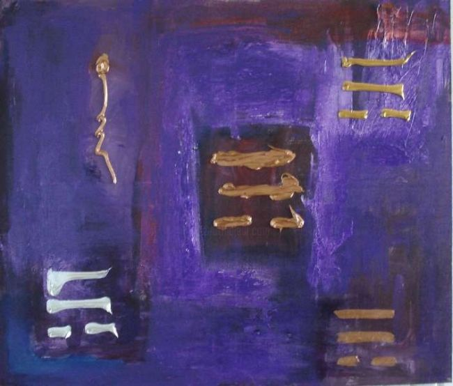 """Painting titled """"purpel and gold"""" by Ballebyart, Original Art, Oil"""