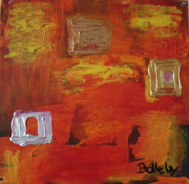 """Painting titled """"orange and silver"""" by Ballebyart, Original Art,"""