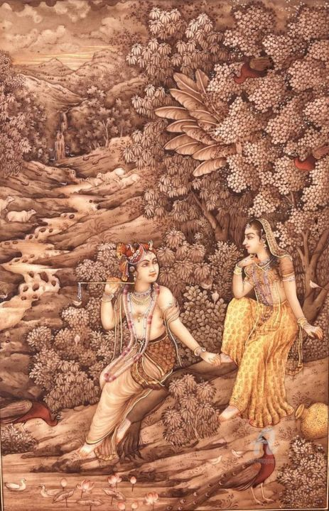 """Painting titled """"A tale of divine lo…"""" by Rangsaaz India, Original Art, Watercolor"""