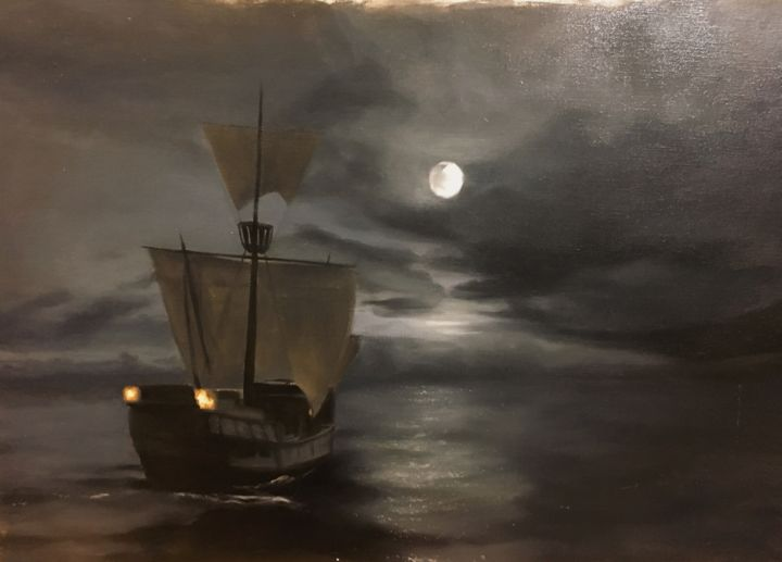 """Painting titled """"夜航"""" by Guangyu An (AnGuangyu), Original Art, Oil"""