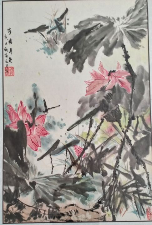 """Painting titled """"荷塘月色"""" by Xyx, Original Art, Ink"""