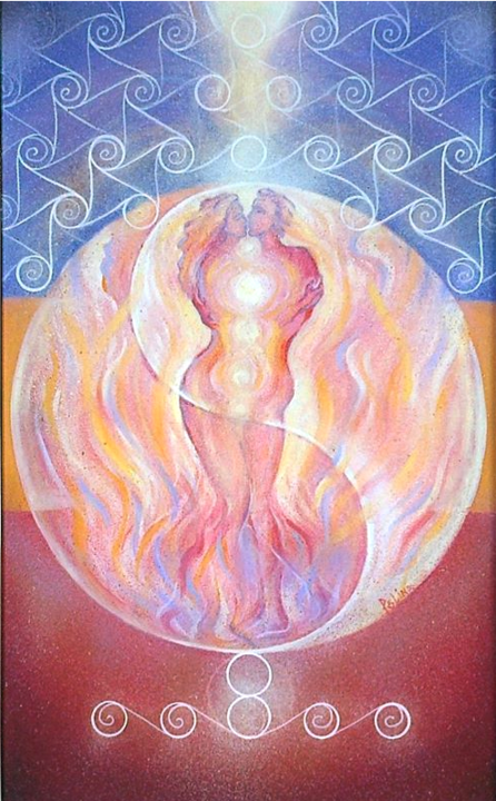 LIGHT and MATTER - NEOLITHIC - Painting,  81x50x2 cm ©2015 by POLINA -                                                                                                                                Abstract Art, Abstract Expressionism, Conceptual Art, Surrealism, Classical mythology, Culture, Geometric, History, Light, light and matter, love, Yin Yang symbol, Sacred Geometry, ancient civilizations, science and semiotics, chakras, aura