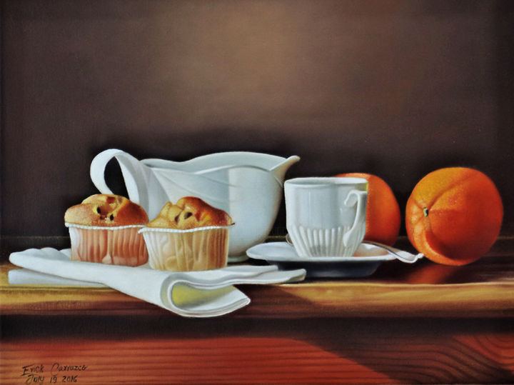 """Painting titled """"breakfast-oil-on-ca…"""" by Erick Carrazco, Original Art, Oil"""