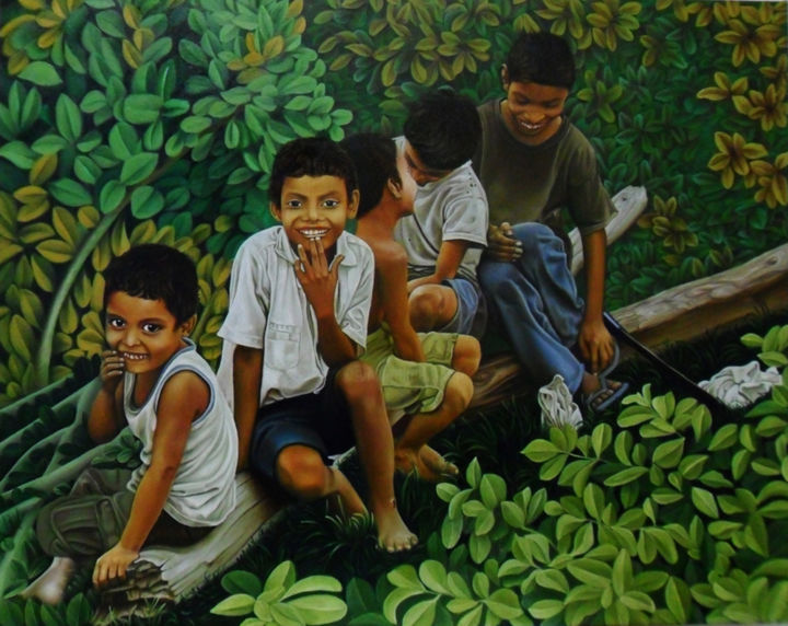 """Painting titled """"los-chiquilines-oil…"""" by Erick Carrazco, Original Art,"""