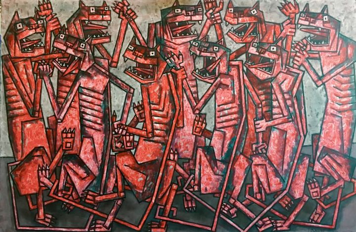 dance red cats - Painting,  130x198 cm ©2017 by DMITRIY TRUBIN -                                                                                                                                                Abstract Art, Contemporary painting, Surrealism, Canvas, Animals, Celebrity, Cats, Dark-Fantasy, Portraits, Abstract Art, dtrubin, трубин, трубин художник, коты, кошки, кошка, продажа картин, tanzen rote Katzen, danser chats rouges, dance red cats