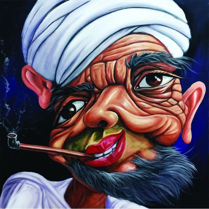 Caricature Painting, acrylic, artwork by A El Hadi