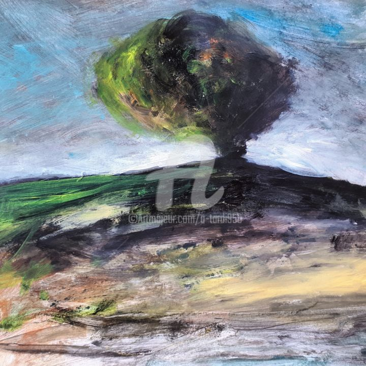 """""""Chaque jour"""" - Painting,  7.9x7.9 in ©2018 by Alain Tardieu -                                        Expressionism, Landscape"""