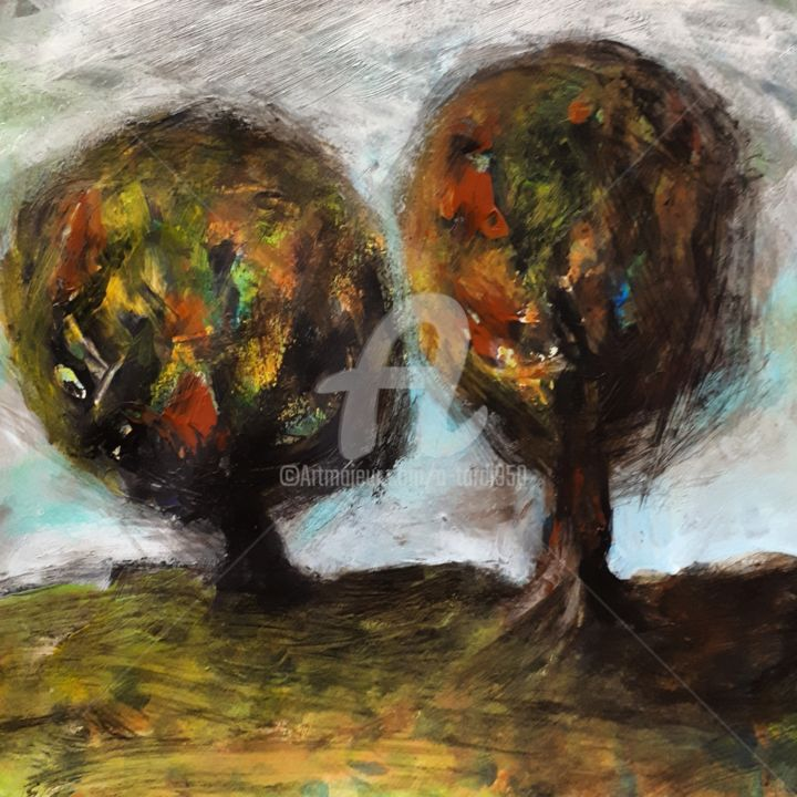 """""""Arbre mosaïque 1"""" - Painting,  7.9x7.9 in, ©2020 by Alain Tardieu -                                                                                                                                                                          Expressionism, expressionism-591, Landscape"""