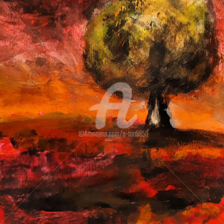 """""""Le feu 2"""" - Painting,  7.9x7.9 in, ©2020 by Alain Tardieu -                                                                                                                                                                          Expressionism, expressionism-591, Landscape"""