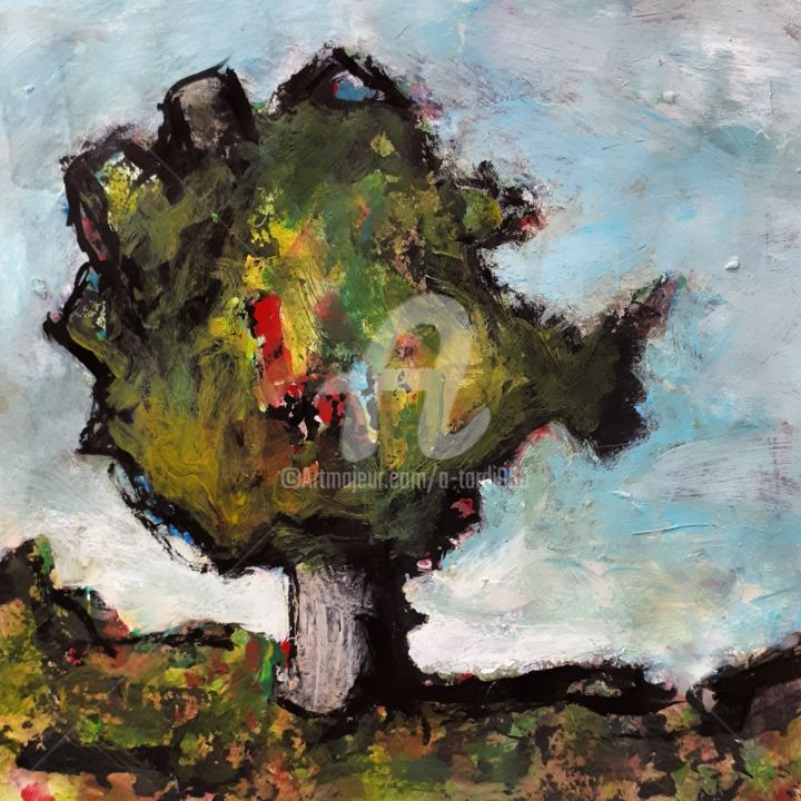 """L'arbre poisson"" - Painting,  7.9x7.9 in, ©2020 by Alain Tardieu -                                                                                                                                                                          Expressionism, expressionism-591, Landscape"