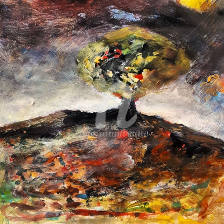 """""""Le fruit"""" - Painting,  7.9x7.9 in, ©2020 by Alain Tardieu -                                                                                                                                                                          Expressionism, expressionism-591, Landscape"""