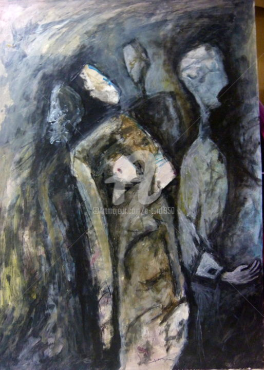 rassemblement - Painting,  60x42 cm ©2013 by Alain Tardieu -                                                                    Expressionism, Paper, Wood, People