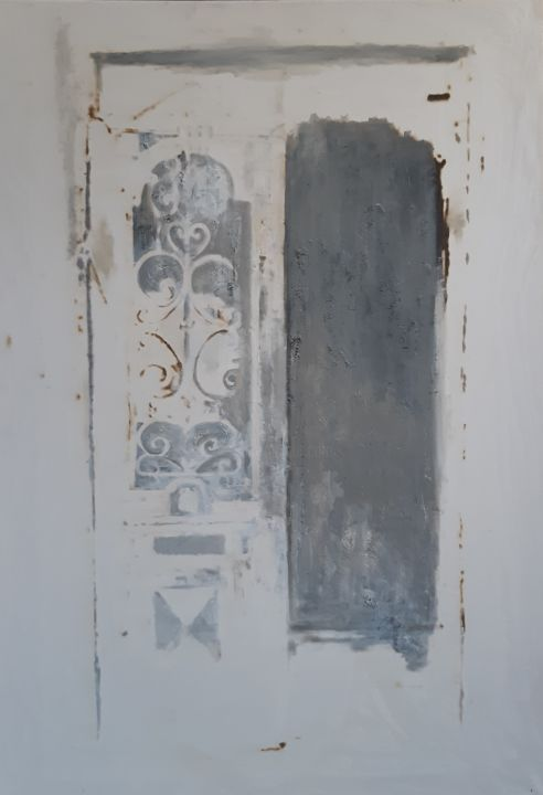 """Painting titled """"Disappearing door"""" by Анна Завиленская, Original Art, Oil Mounted on Stretcher frame"""