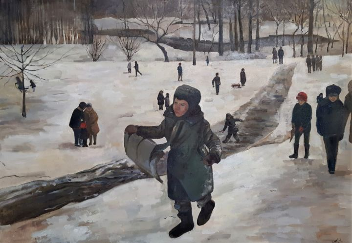 """Painting titled """"Winter of my childh…"""" by Анна Завиленская, Original Art, Oil Mounted on Stretcher frame"""