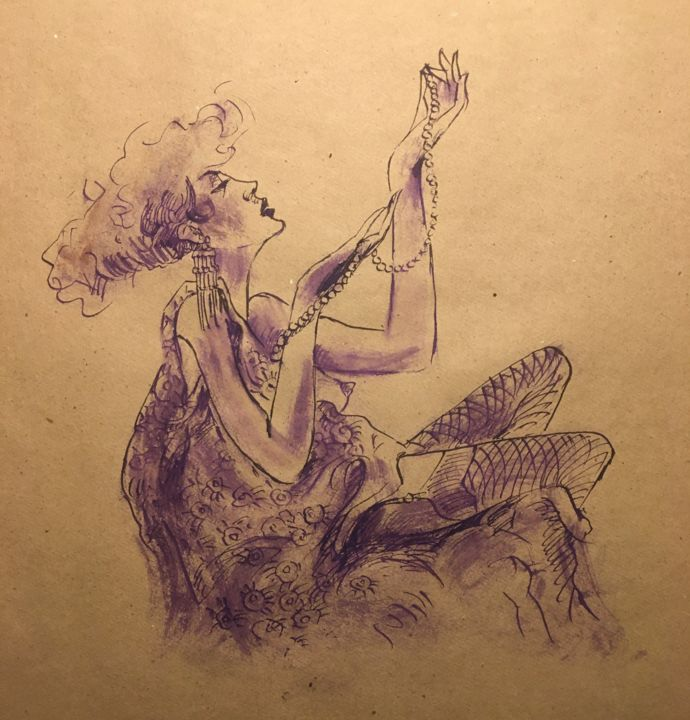 """Drawing titled """"Le collier"""" by Alain Godefroid, Original Art, Ink"""