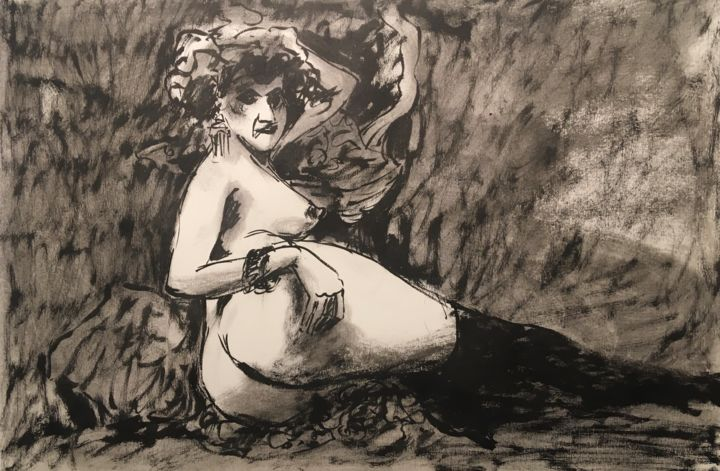 """Drawing titled """"callipyge"""" by Alain Godefroid, Original Art, Ink"""