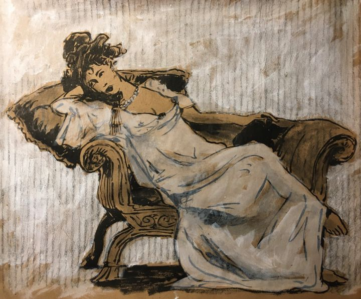 """Drawing titled """"Mademoiselle Cat"""" by Alain Godefroid, Original Art, Ink"""