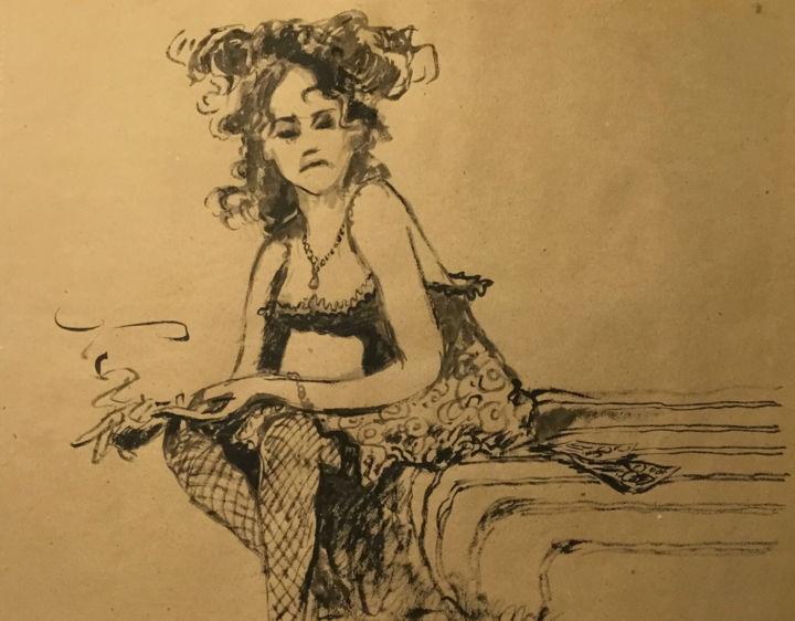 """Drawing titled """"Le cadeau"""" by Alain Godefroid, Original Art, Ink"""