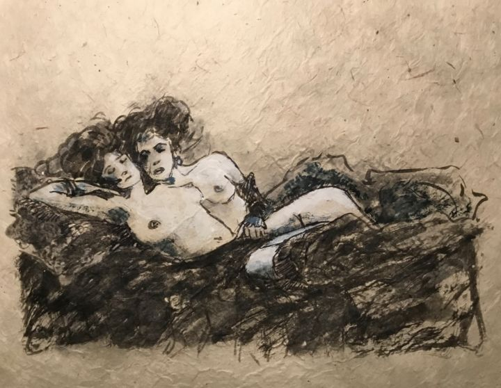 """Drawing titled """"Complices"""" by Alain Godefroid, Original Art, Ink"""