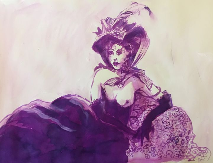 """Drawing titled """"La courtisane au ch…"""" by Alain Godefroid, Original Art, Ink"""