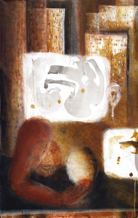 """Painting titled """"""""Ser""""     (Lúcia Ch…"""" by António Amaralgomes, Original Art, Pigments Mounted on Cardboard"""