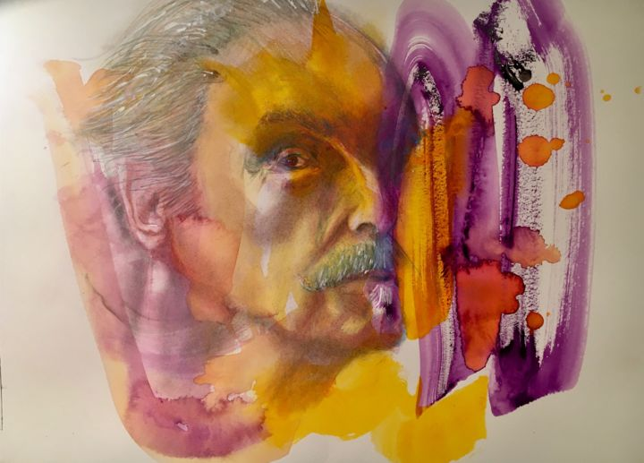 """Drawing titled """"Smash"""" by Larry Aarons, Original Art, Watercolor Mounted on Other rigid panel"""