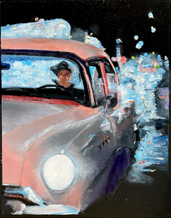"""Painting titled """"Night Moves"""" by Larry Aarons, Original Art, Oil Mounted on Other rigid panel"""