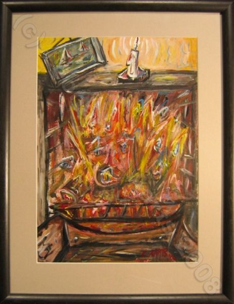 """Painting titled """"The Fireplace"""" by Leon Aarts, Original Art,"""