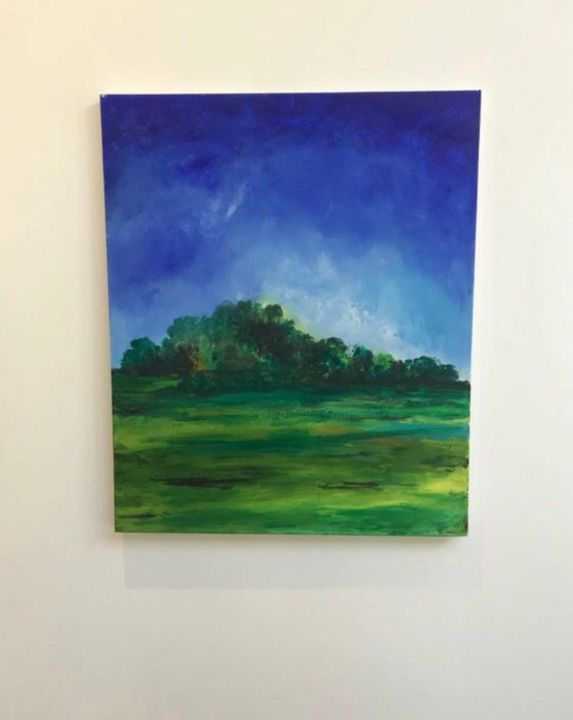 English countryside - Painting,  23.6x19.7x0.8 in, ©2019 by Aash -                                                                                                                                                                                                                                                                                                                                                                                                                                                                                                                                                                                          Abstract, abstract-570, Garden, Landscape, Tree, affordable art, landscape art, abstract, canvas art, large art, canvas painting, acrylic painting