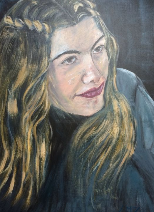 L'Espiègle - Painting,  70x50 cm ©2018 by Leila Zarif -                                                                        Figurative Art, Canvas, Women, Portraits, art figuratif, portrait, femmes