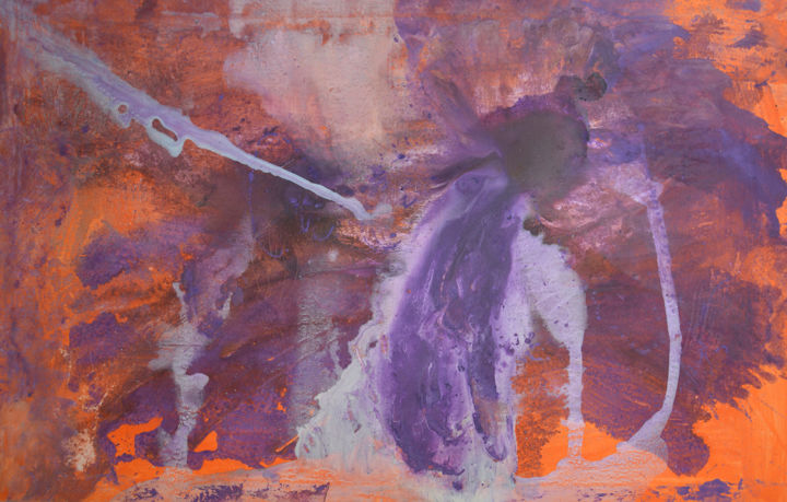 Birth of a Galaxy No.2 - Painting,  80x125x0.1 cm ©2018 by Andrei Autumn -                                                                        Abstract Art, Abstract Expressionism, Canvas, Abstract Art, purple, splashes, orange